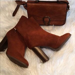 Shoes - Brown Brushed Suede Boots